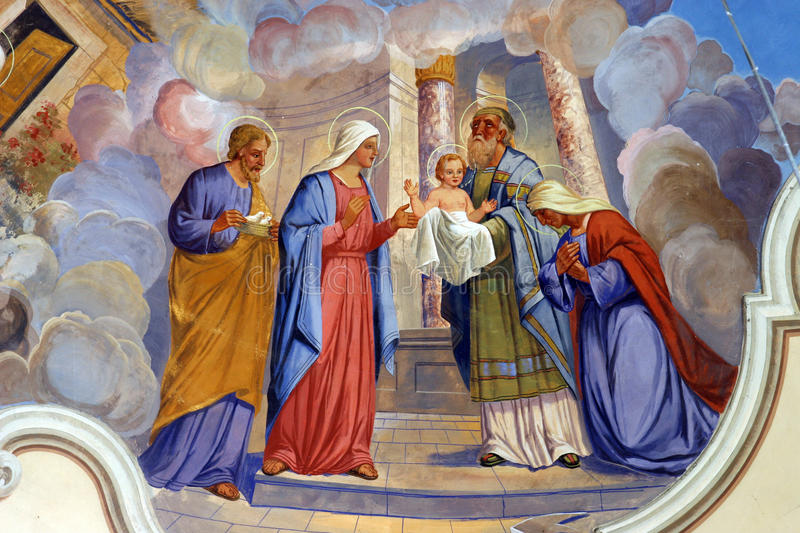 Presentation of Jesus at the Temple stock image