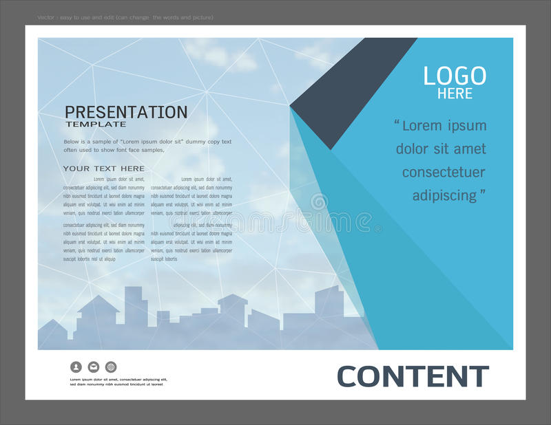 Presentation Layout Design For Business Cover Page Template Stock Vector