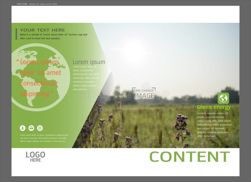 Presentation layout design for greenery cover page template, Abstract vector modern background royalty free illustration