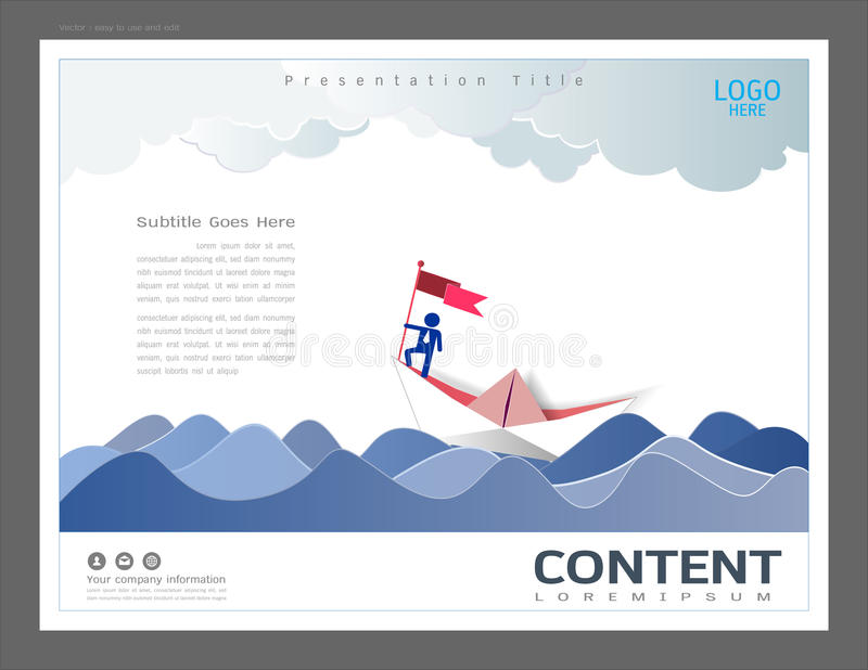 Presentation layout design template, Use in business leadership and success concept, Businessman on top holding flag with sailing stock illustration