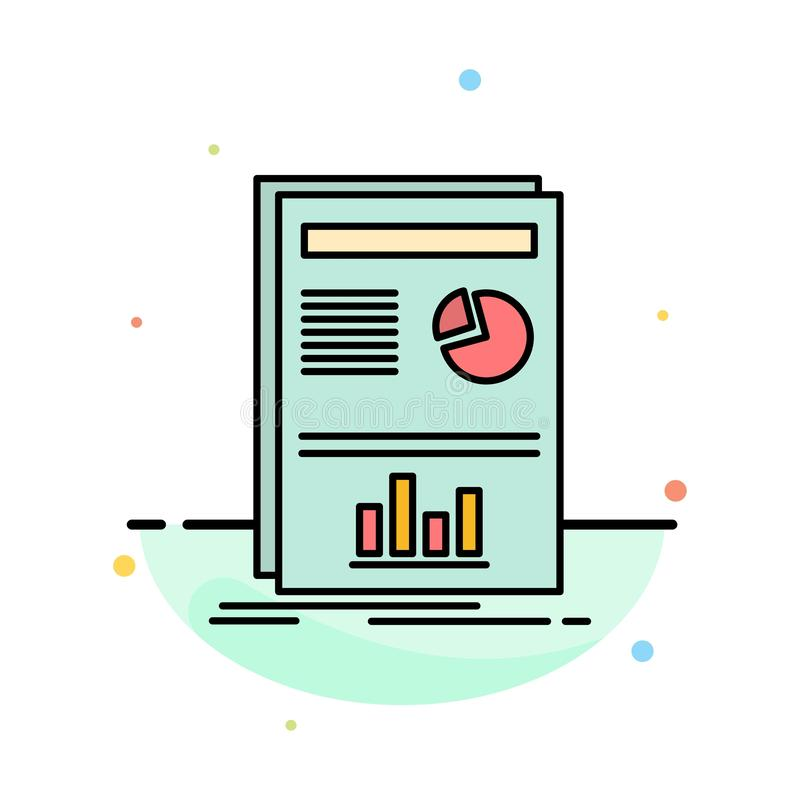 Presentation, Layout, Graph, Success Abstract Flat Color Icon Template royalty free illustration