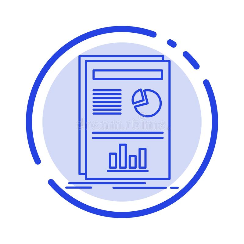 Presentation, Layout, Graph, Success Blue Dotted Line Line Icon stock illustration