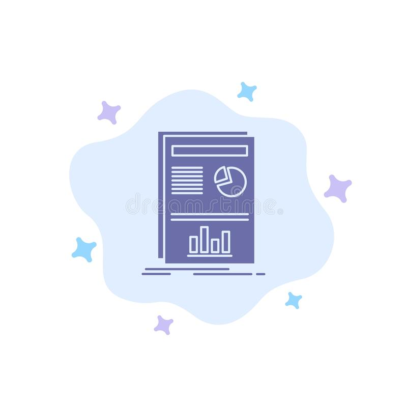 Presentation, Layout, Graph, Success Blue Icon on Abstract Cloud Background stock illustration