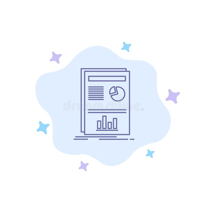 Presentation, Layout, Graph, Success Blue Icon on Abstract Cloud Background vector illustration