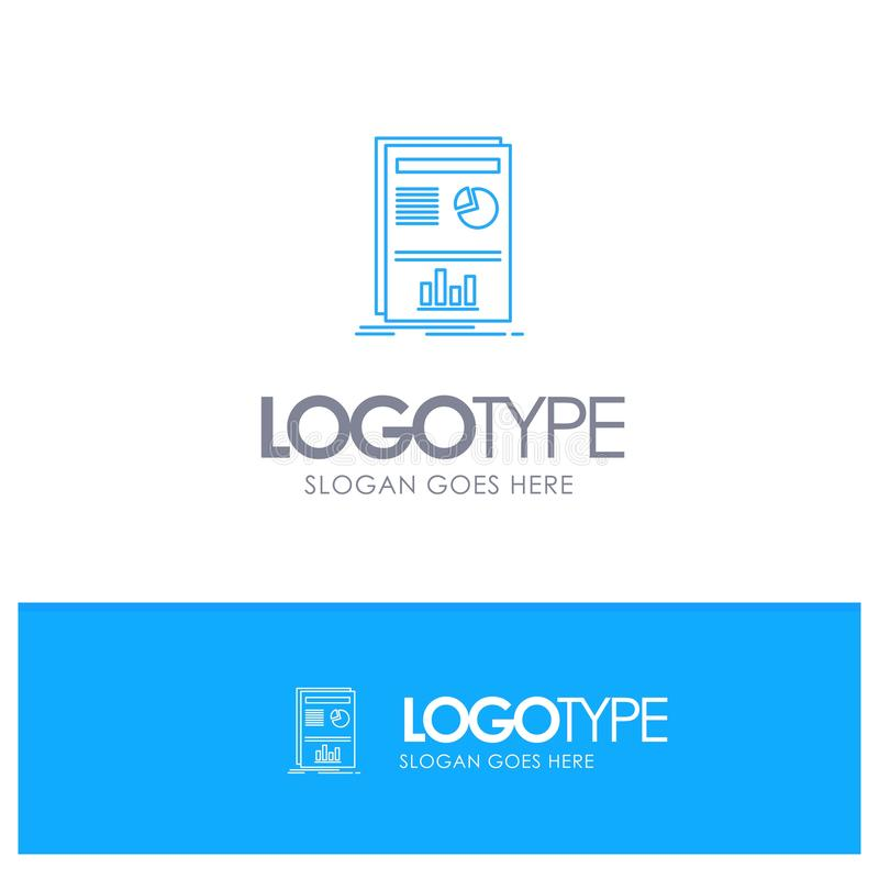 Presentation, Layout, Graph, Success Blue outLine Logo with place for tagline vector illustration