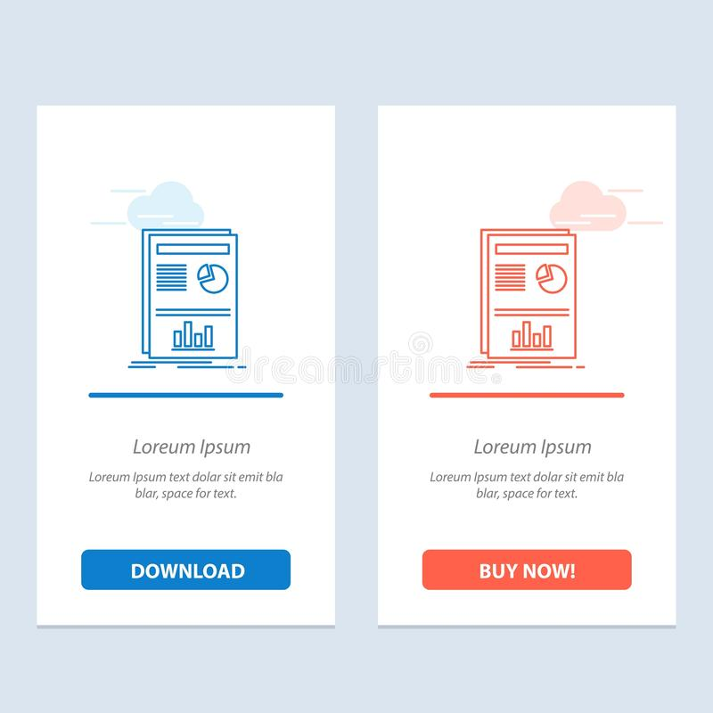 Presentation, Layout, Graph, Success  Blue and Red Download and Buy Now web Widget Card Template royalty free illustration