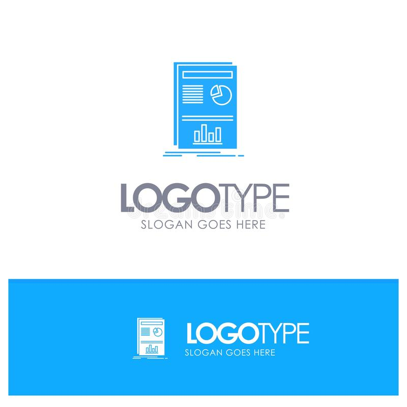 Presentation, Layout, Graph, Success Blue Solid Logo with place for tagline vector illustration