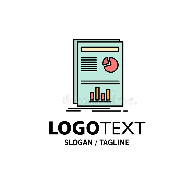 Presentation, Layout, Graph, Success Business Logo Template. Flat Color royalty free illustration