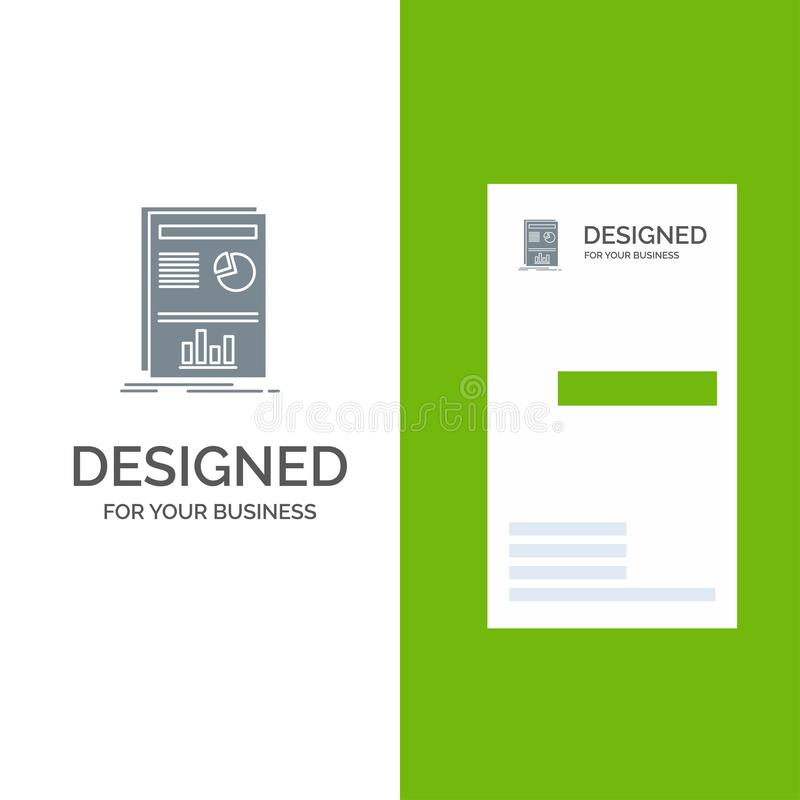 Presentation, Layout, Graph, Success Grey Logo Design and Business Card Template stock illustration