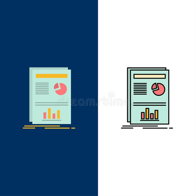 Presentation, Layout, Graph, Success  Icons. Flat and Line Filled Icon Set Vector Blue Background stock illustration
