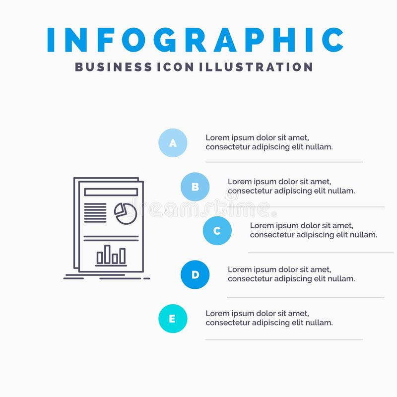 Presentation, Layout, Graph, Success Line icon with 5 steps presentation infographics Background vector illustration