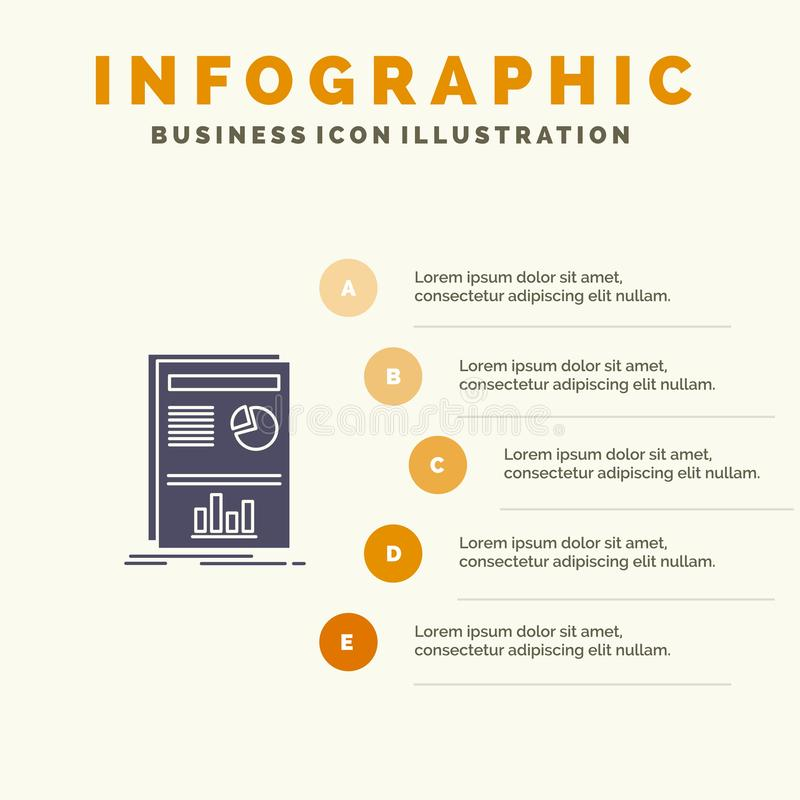 Presentation, Layout, Graph, Success Solid Icon Infographics 5 Steps Presentation Background stock illustration