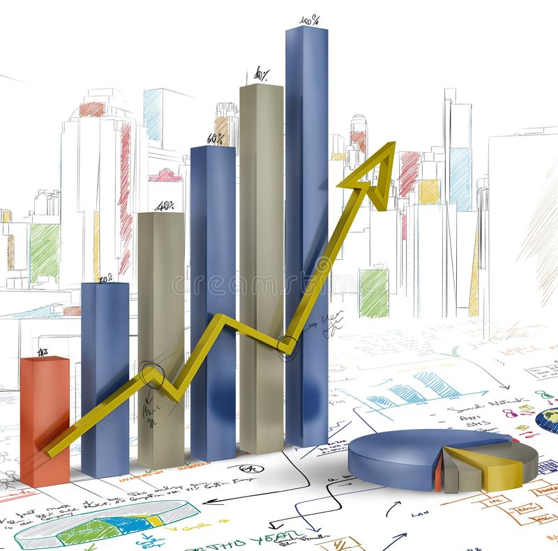 Presentation of project. With statistics and graphs stock illustration