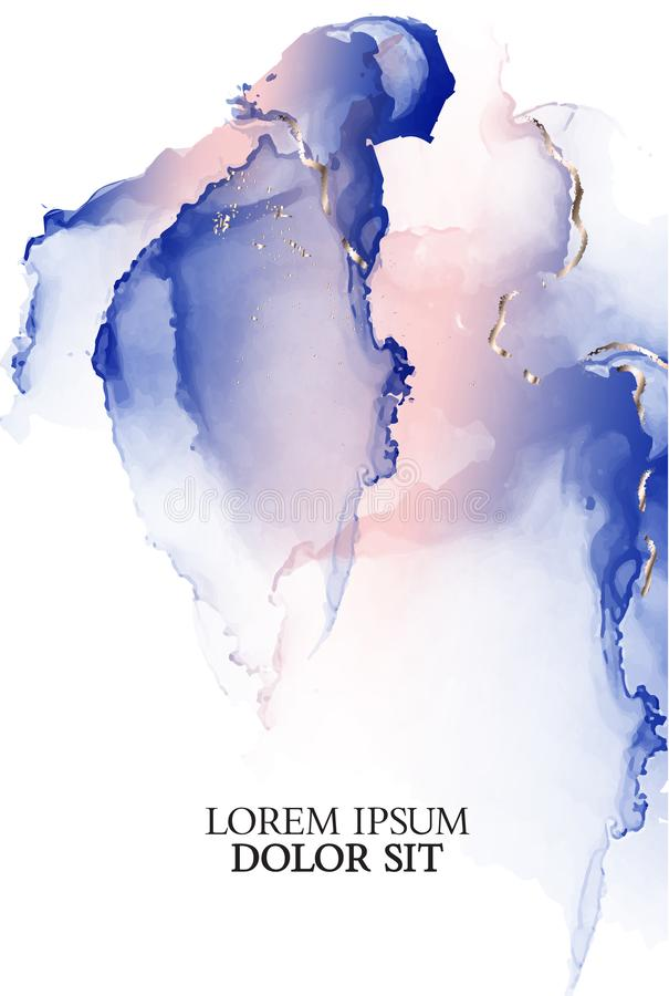 Presentation reklamblad, för alkoholfärgpulver för inbjudan violett rosa design Vektorkonst med vattenfärgflytandefärgstänk i mju royaltyfri illustrationer