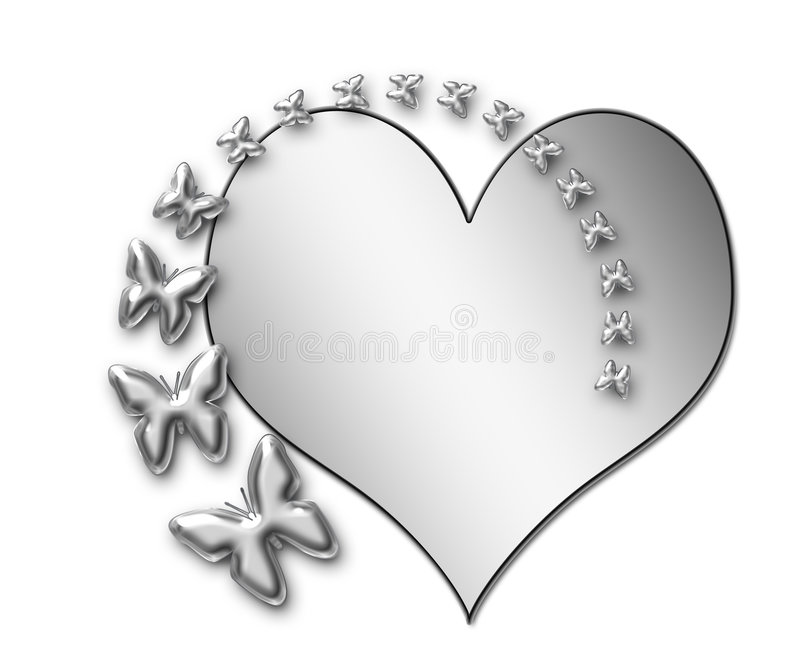 Presentation silver Butterflies and Heart vector illustration