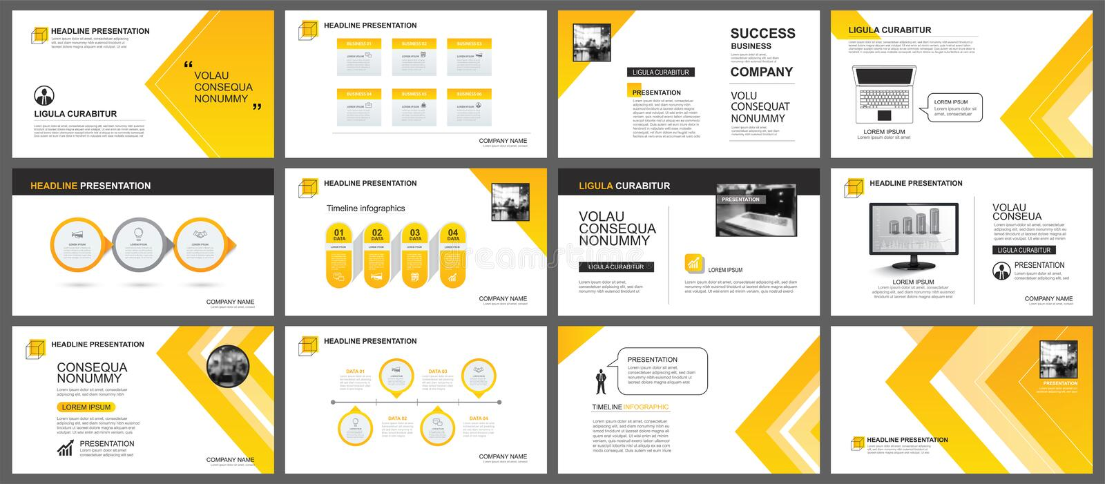 Presentation and slide layout background. Design yellow and orange gradient arrow template. Use for business annual report, flyer. Marketing, leaflet royalty free illustration
