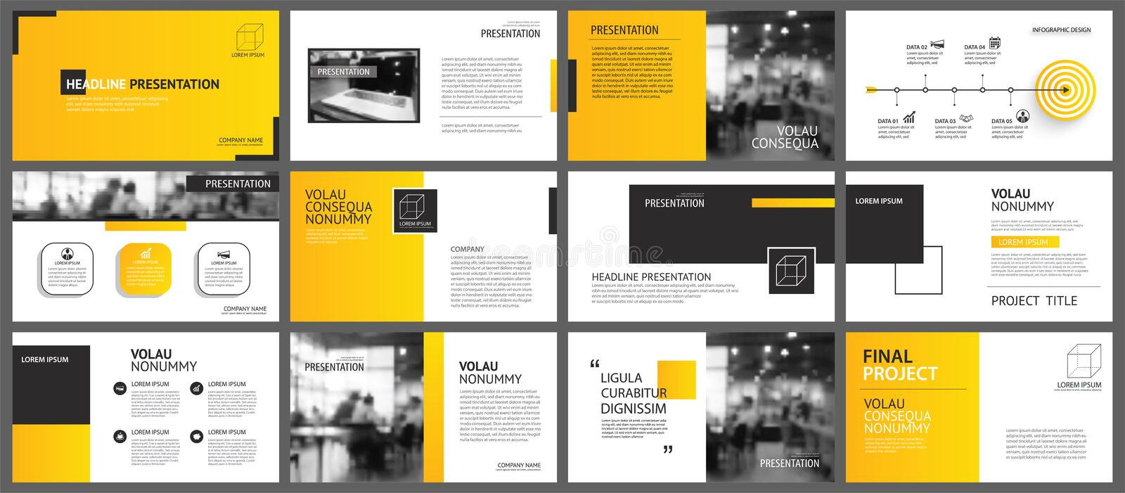 Presentation and slide layout background. Design yellow and orange gradient geometric template. Use for business annual report, vector illustration