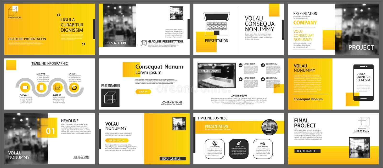 Presentation and slide layout background. Design yellow and orange gradient template. Use for business annual report, flyer,. Marketing, leaflet, advertising stock illustration