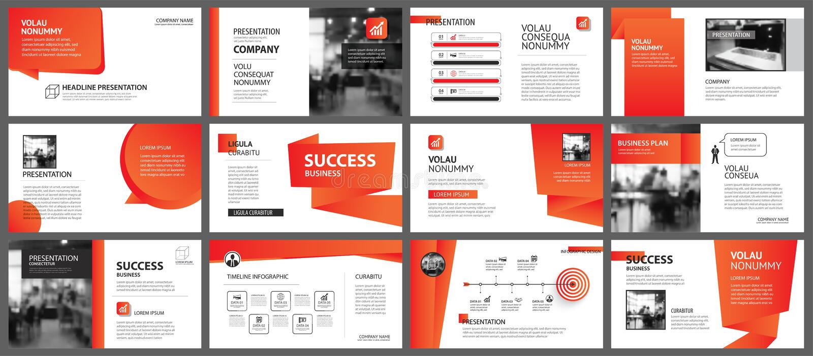 Presentation and slide layout template. Design red and orange gradient in paper shape background. Use for business annual report,. Flyer, marketing, leaflet stock illustration