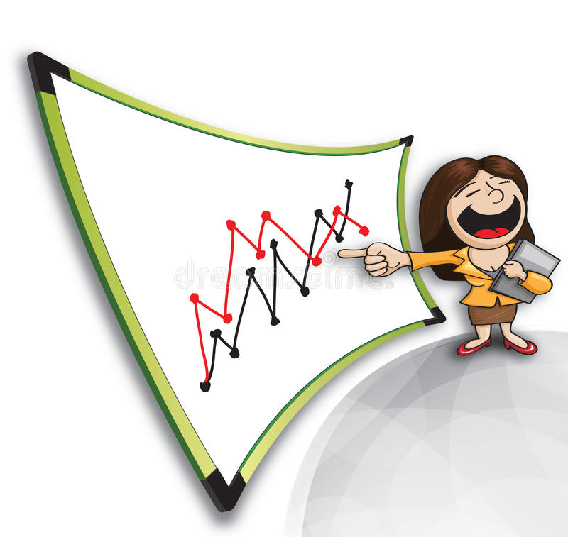 Presentation. Teacher/ Businesswoman giving a hearty presentation with line charts vector illustration