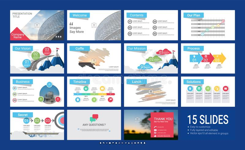 Presentation template with infographic elements. stock illustration