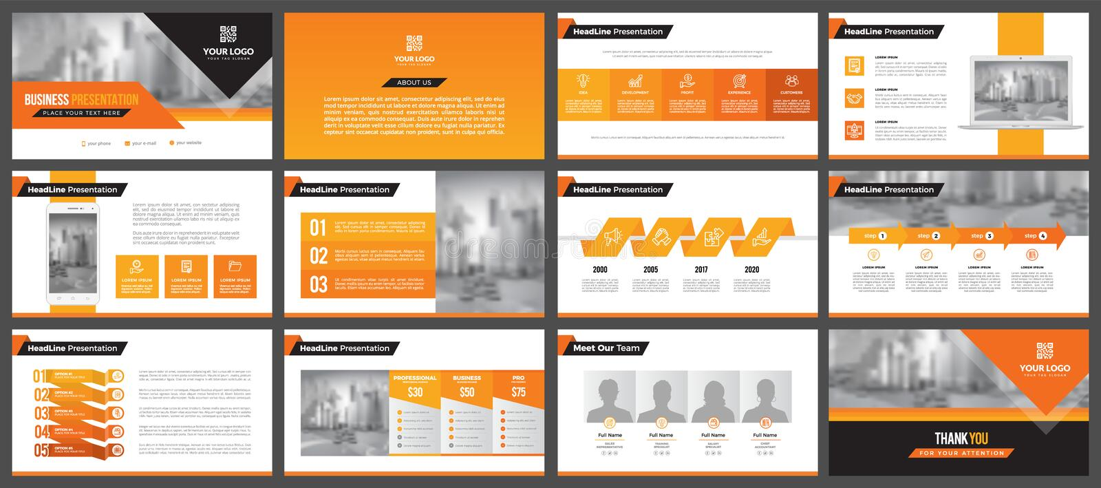 Presentation templates, corporate. Elements of infographics for presentation templates. Annual report, book cover, brochure, layout, leaflet layout template royalty free illustration
