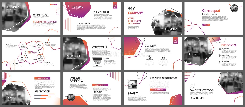 Presentations- och glidbanaorienteringsbakgrund Designapelsin och purp stock illustrationer