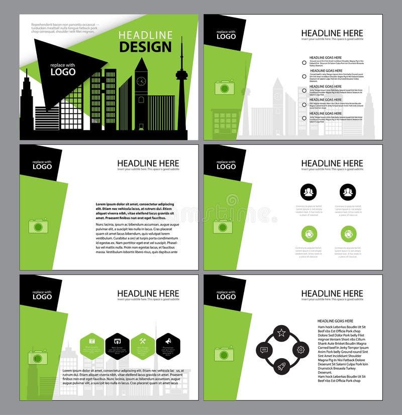 Presentationsmallar, uppsättning för design för lägenhet för Infographic beståndsdelmall för marknadsföring för broschyr för årsr vektor illustrationer