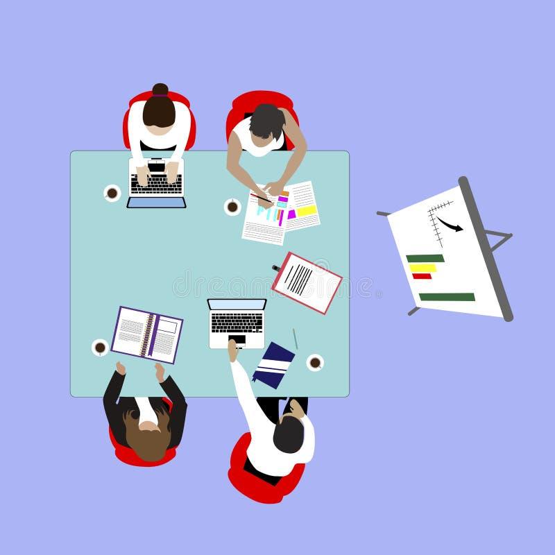 Presentationsseminarium för bästa sikt för affärslag royaltyfri illustrationer