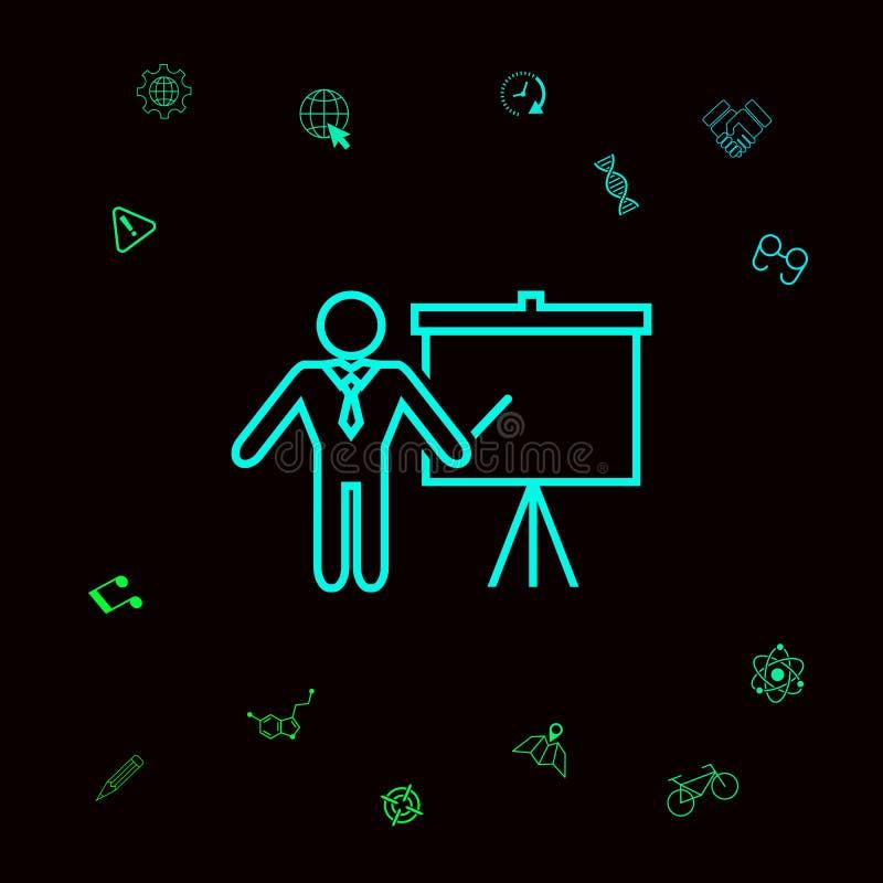 Presentationstecken - linje symbol Man anseendet med pekaren nära flipdiagrammet Tomt tomt affischtavlasymbol diagram vektor illustrationer