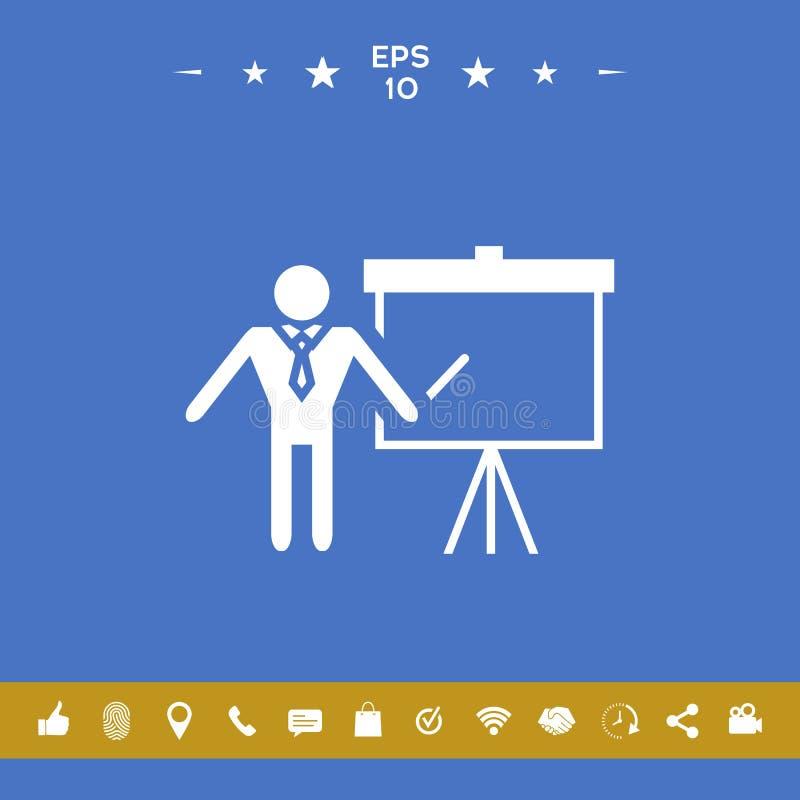 Presentationsteckensymbol Man anseendet med pekaren nära flipdiagrammet Tomt tomt affischtavlasymbol vektor illustrationer