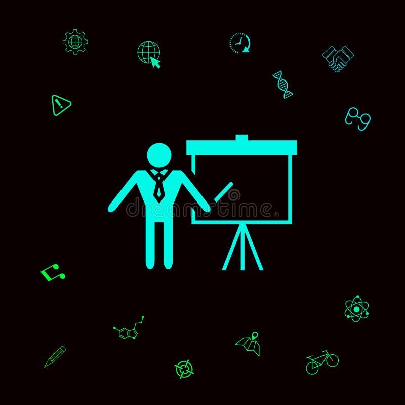Presentationsteckensymbol Man anseendet med pekaren nära flipdiagrammet Tomt tomt affischtavlasymbol Grafiska beståndsdelar royaltyfri illustrationer