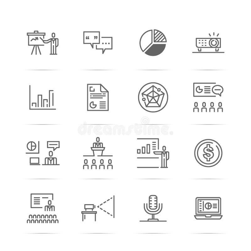 Presentationsvetorlinje symboler vektor illustrationer