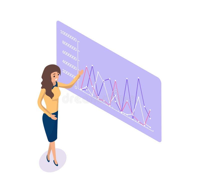 Presentator Dame Showing Graphics en Statisctics stock illustratie