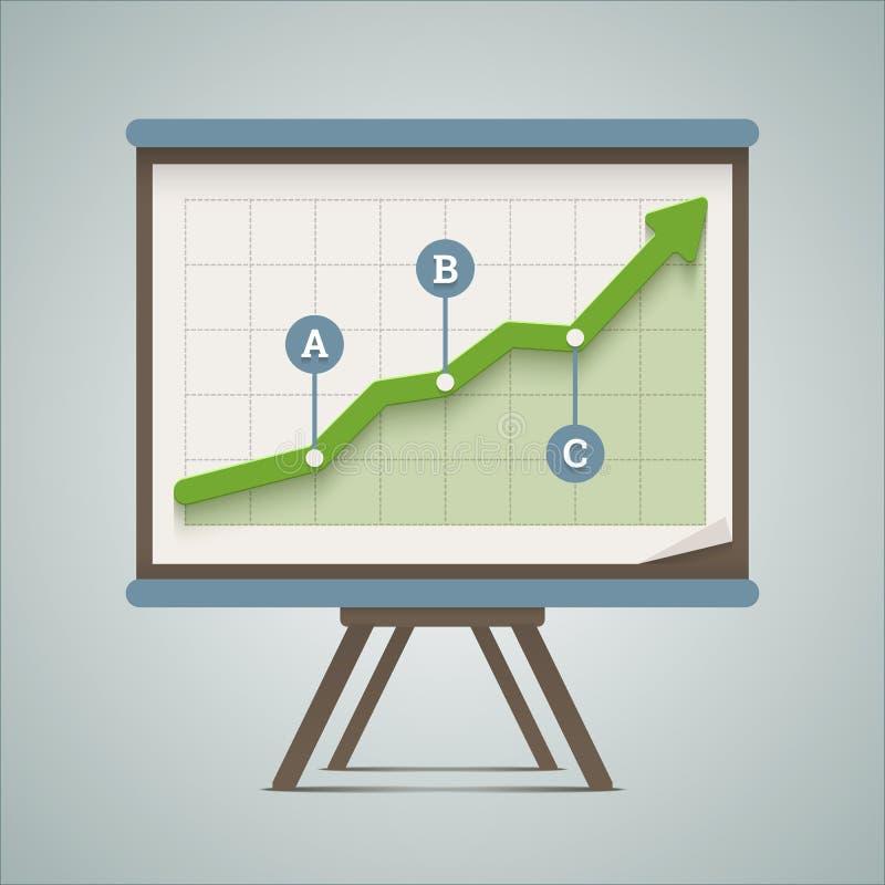 Presentazione crescente del grafico. illustrazione di stock