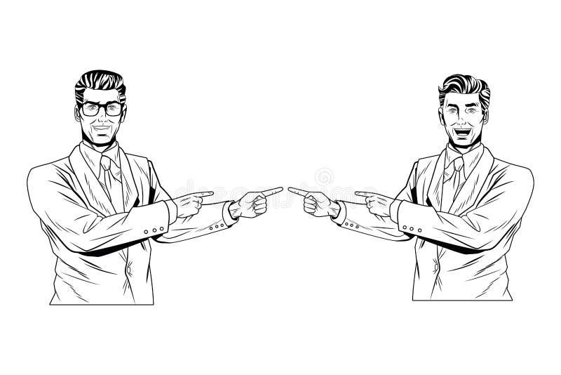 Presentazione degli uomini d'affari di Pop art in bianco e nero royalty illustrazione gratis