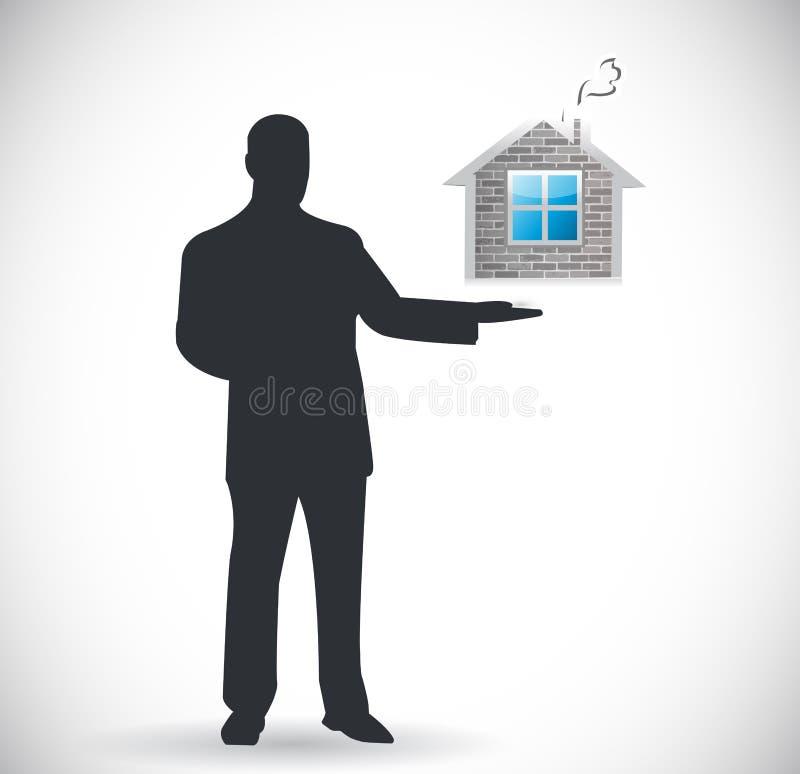 Presentazione del bene immobile. casa da vendere il concetto illustrazione di stock