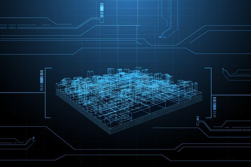 Presentazione del blocco per grafici del collegare di costruzione illustrazione di stock