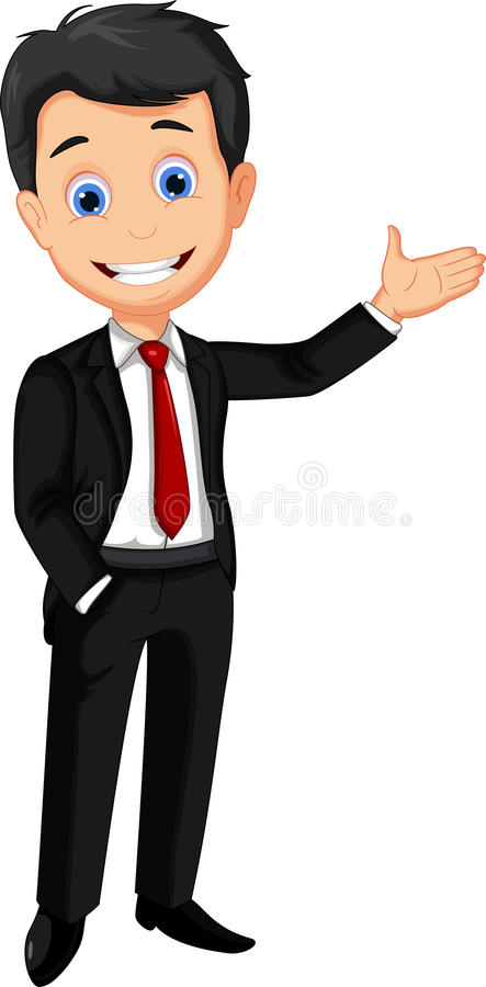 Presentazione del fumetto dell'uomo di affari illustrazione di stock