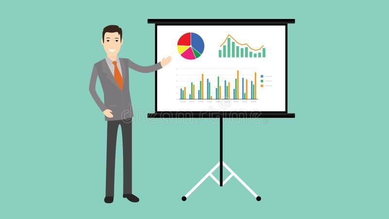 Presentazione dell'uomo d'affari con il grafico ed il grafico del bordo illustrazione di stock