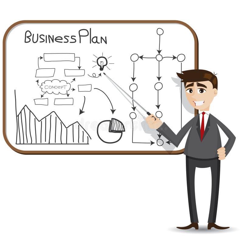 Presentazione dell'uomo d'affari del fumetto con il business plan illustrazione vettoriale