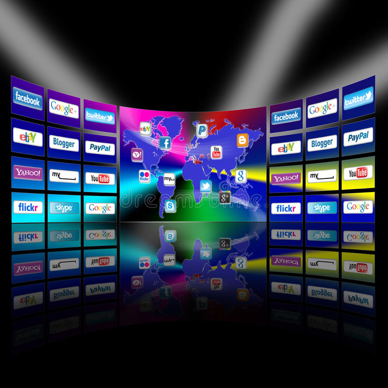 Presentazione della parete della rete mobile di Apps video illustrazione di stock