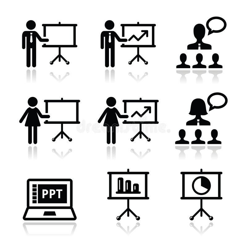 Presentazione di affari, conferenza, icone di discorso illustrazione vettoriale