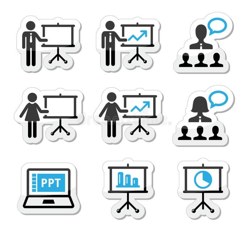 Presentazione di affari, conferenza, icone di discorso royalty illustrazione gratis
