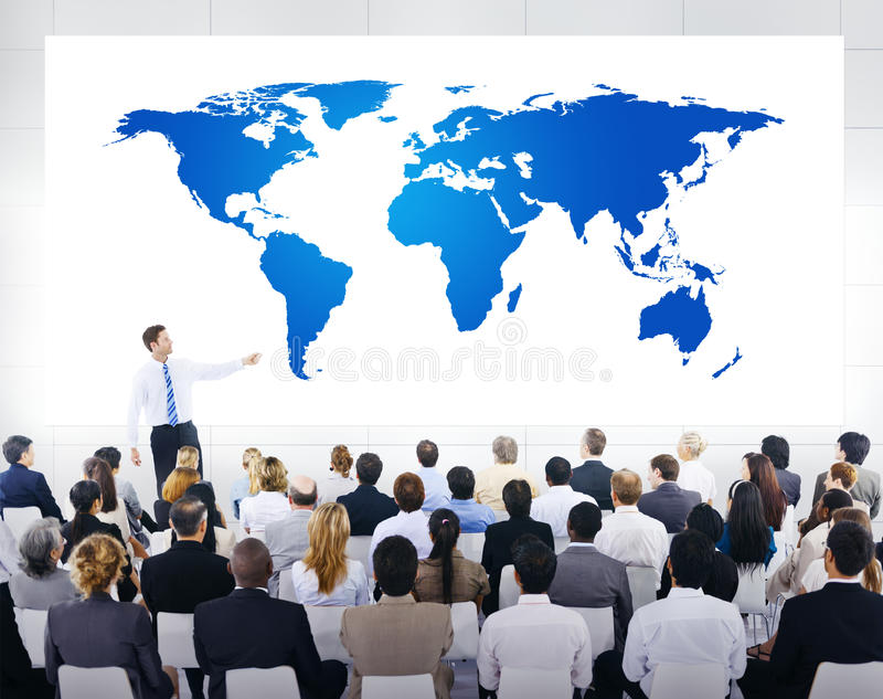 Presentazione di affari globali con la mappa di mondo immagine stock