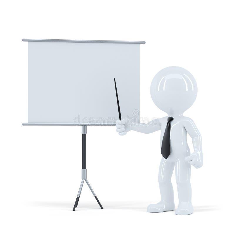 Presentazione di affari uomo 3d che sta davanti ad un bordo in bianco Isolato con il percorso di ritaglio della scena e del bordo royalty illustrazione gratis
