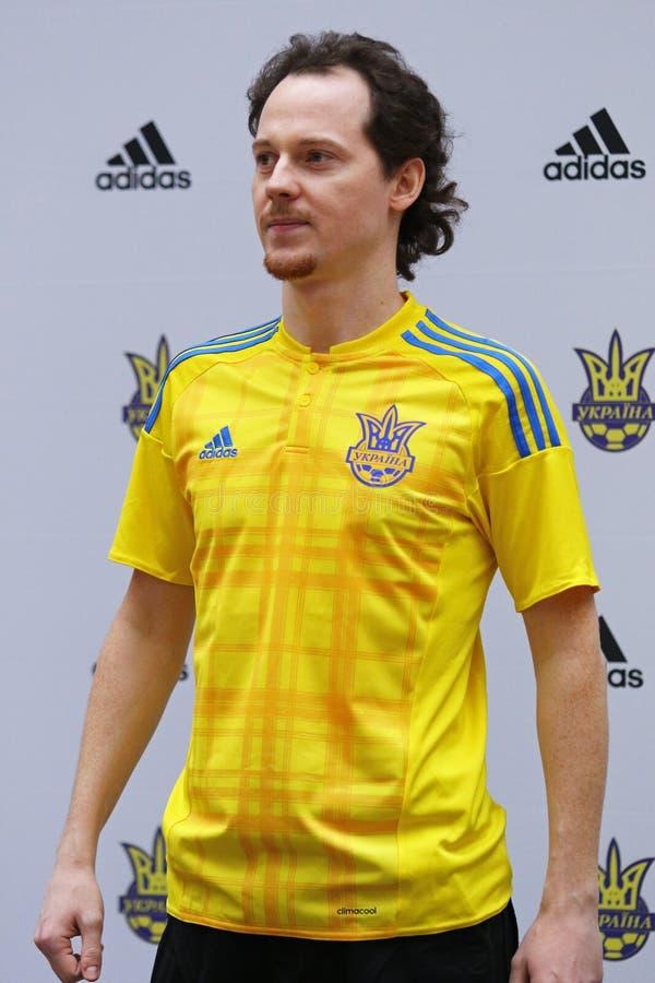 Presentazione di nuovo pullover della squadra di football americano nazionale di Ukr immagini stock libere da diritti