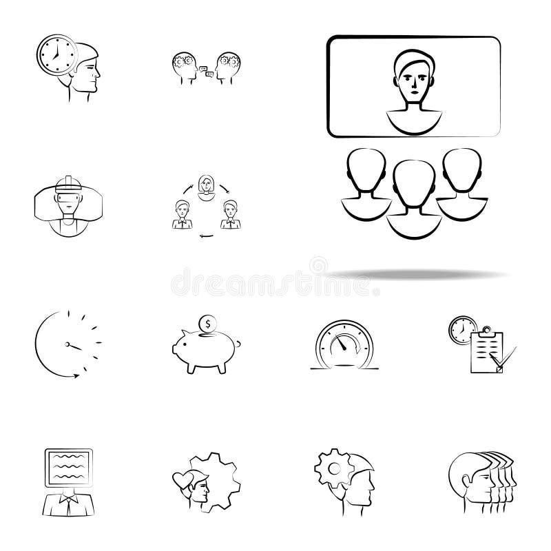 presentazione, icona disegnata a mano dell'uomo d'affari s Insieme universale delle icone di affari per il web ed il cellulare illustrazione vettoriale