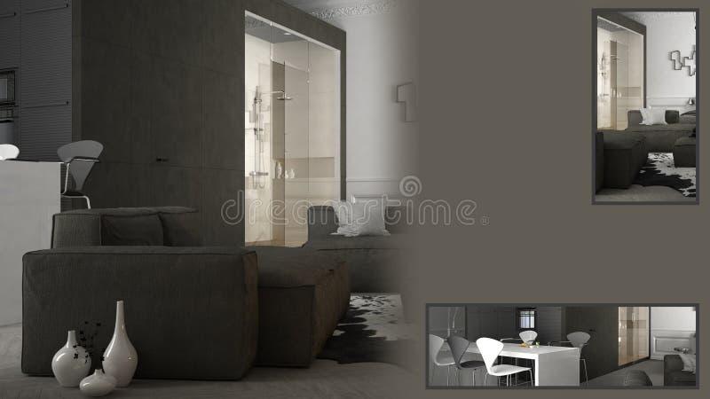 Presentazione moderna del salone con lo spazio della copia ed i dettagli primo piano, idea di concetto dell'architetto arredatore immagini stock