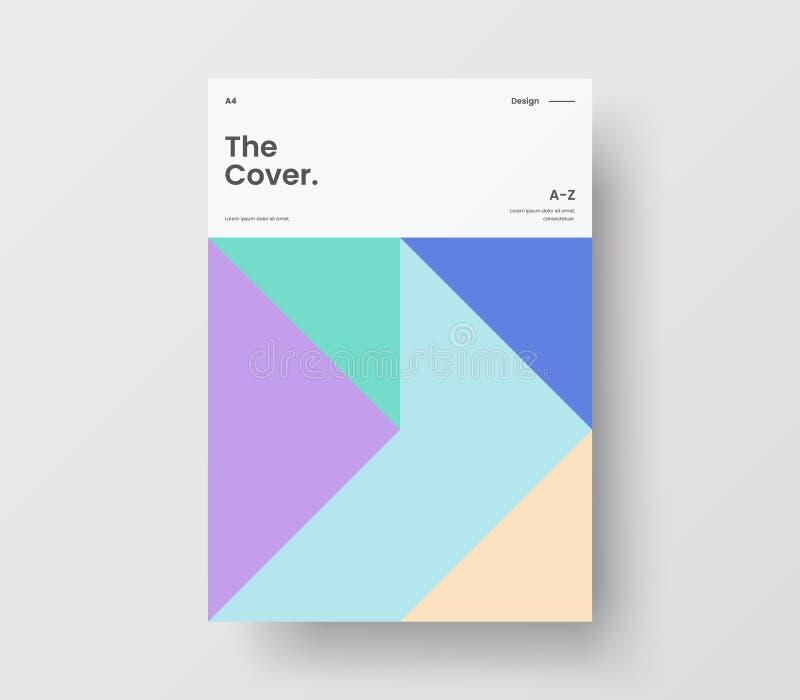 Presentazione vettoriale A4: imbavagliare la pagina anteriore Layout disegno illustrativo geometrico astratto Modello brochure id illustrazione vettoriale